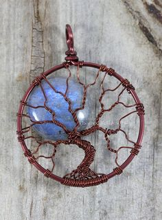 Blue Labradorite Full Moon Tree of Life Pendant Blue Flash Wire Wrapped Jewelry Celestial Silver Necklace Wire Tree Luxe Luxury Gemstone
