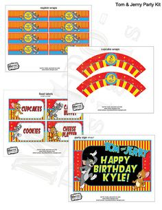 Tom and Jerry Deluxe D.I.Y printable party pack    These are custom party decorations, printable files, I email the files and you can print as many