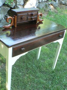 VinTAGE aNTiQue CREAM WHITE mahogany Farm house DESK by TheDeskery, $325.00