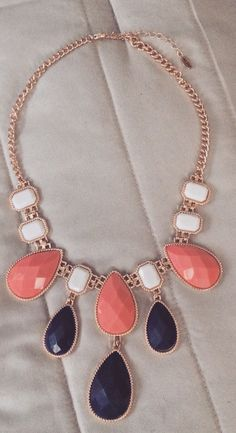 navy pink and white necklace