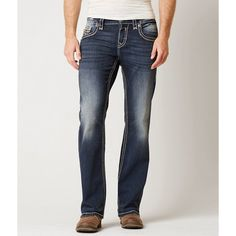 Rock Revival Wynton Slim Boot Stretch Jean ($159) ❤ liked on Polyvore featuring men's fashion, men's clothing, men's jeans, blue, rock revival mens jeans, mens slim fit jeans, mens low rise jeans, mens super skinny stretch jeans and mens slim boot cut jeans