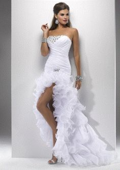 ae6d87cac4b Strapless ruched ruffles white Ivory Wedding