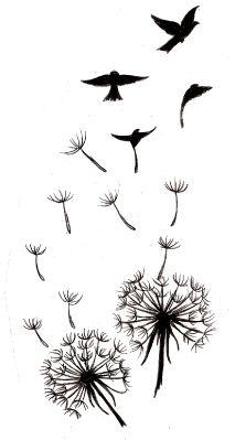 [ Modèle de tatouage à imprimer : dessin tatouage femme&homme dandelions with seeds that turn into birds as a tattoo pattern Dandelion Bird Tattoos, Tattoo Bird, Wrist Tattoo, Moth Tattoo, Feather Tattoos, Dandelion Tattoo Meaning, Swallow Bird Tattoos, Bird Silhouette Tattoos, Silhouette Art
