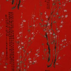 Latest Designer Fabric 'Haru Kanji in Red' by Alexander Henry (USA). Designer Fabrics, curtains, blinds, cushions online