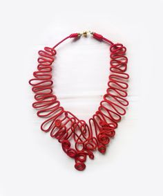 Red Necklace - Modern Rope Necklace - Contemporary Necklace - Unique Rope Jewelry - Anniversary gift - handmade necklace by AlfieriJewelDesign on Etsy