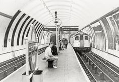 Two stations on the London Underground still retain island platforms at tube level; a train of northbound Northern Line 1959 stock runs into the station, previously known as Clapham Road, in November Pentax Kodak T-MAX 3200 rated @ Vintage London, Old London, London Transport, Public Transport, London Underground Tube, Paris Metro, Vanishing Point, Loft Room, London Calling