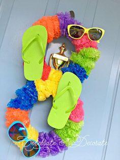 Crazy Eight Flip Flop and Lei Summer Fun Unique Wreath Summer Porch Decor, Flip Flop Wreaths, Globe Decor, Boho Diy, Diy Garden Decor, Diy Wreath, Wreath Making, Porch Decorating, Summer Decorating
