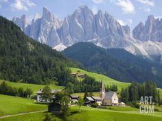 Parco Naturale Puez-Odle, Santa Maddalena, Val Di Funes, Dolomites, Bolzano, Italy Photographic Print