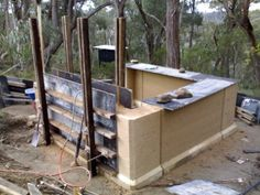 Rammed earth garden shed