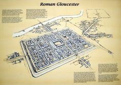 Glevum in the Century, modern day Gloucester, England : papertowns Roman Architecture, Historical Architecture, Ancient Architecture, Ancient Rome, Ancient History, Ecce Romani, Fantasy World Map, Roman Britain, Pictorial Maps