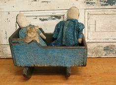Rag dolls in old blue calico...sweet ~