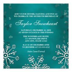 TEAL AQUA SNOWFLAKE SWEET SIXTEEN BIRTHDAY PERSONALIZED INVITATIONS