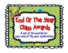 What better way to end the school year than by having an end of the year award ceremony! All kids like to be acknowledged and with these awards you will be sure to make each student smile as you give them some special recognition. Included in this pack are 30 clever and fun end of the year student awards!