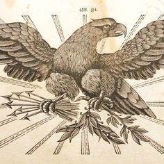 Vintage eagle engraving advertising cut. #typehunter #typeresearch