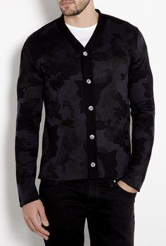 27cf31e6508 Black Camo Knit Cardigan by COMME des GARCONS SHIRT Camo Fashion