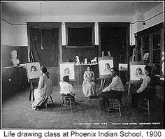 life drawing class, Phoenix Indian School (1900)