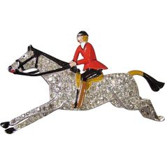 Vintage Early Crown Trifari Rhinestone Enamel Brooch Woman Jockey Riding Pave Rhinestone Horse Figural A Philippe Equestrian