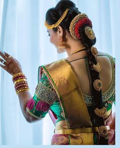 You Can find Beautiful Heavy Work Bridal Blouses Here Bridal Hairstyle Indian Wedding, Indian Bridal Hairstyles, Indian Bridal Makeup, Bride Hairstyles, Blouse Back Neck Designs, Bridal Blouse Designs, Daria Werbowy, Wedding Day Makeup, Bridal Makeup Looks