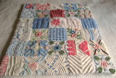 IDEA Baby or Lap Quilt - Vintage Chenille- made from old bedspreads.