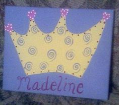 Princess Crown Wall Art  Handpainted  FREE PERSONALIZATION by alliegirl97 on Etsy, $15.00