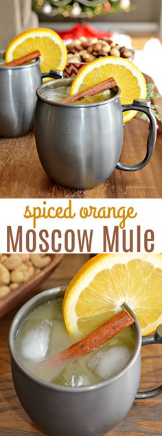 This Spiced Orange Moscow Mule cocktail is the perfect, festive cocktail for you… This Spiced Orange Moscow Mule cocktail is the perfect, festive cocktail for you…,Partyideas This Spiced Orange Moscow Mule cocktail is the. Orange Juice Cocktails, Orange Juice And Vodka, Festive Cocktails, Juice Drinks, Holiday Drinks, Fall Drinks, Vodka Cocktails, Mixed Drinks, Cocktail Syrups