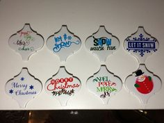 Christmas Ornaments  Ceramic tiles from Lowes Sharpie markers