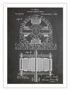 TESLA ELECTRIC MOTOR POSTER BLACKBOARD 1888 PATENT PRINT 18X24 INVENTOR GENIU...