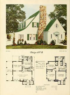 Modern homes. : National Plan Service, Inc. Sims House Plans, Small House Plans, House Floor Plans, Architecture Design, Vintage Architecture, Vintage House Plans, Vintage Homes, Cabins And Cottages, House Layouts