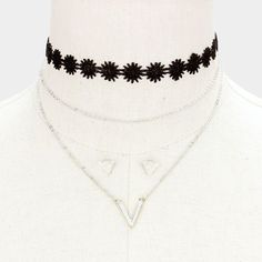 Triple Layer Metal V-Pendant Lace Choker Necklace
