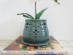 Ceramic Orchid Pot and Saucer Handcrafted by MyMothersGarden, $41.00