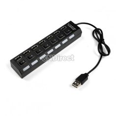 $3.39 7 Port USB 2.0 High Speed HUB ON/OFF Sharing Switch For Laptop PC Black