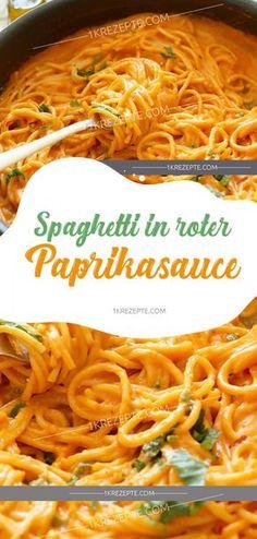 abendessen kinder Spaghetti in red paprika sauce - Pasta - Spaghetti in roter Paprikasauce - Nudeln - Noodle Recipes, Shrimp Recipes, Sauce Recipes, Veggie Recipes, Pasta Recipes, Cooking Recipes, Healthy Recipes, Healthy Food, Paprika Sauce