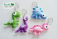 Dinosaur-shaped keyrings by IlusionCreativa on Etsy