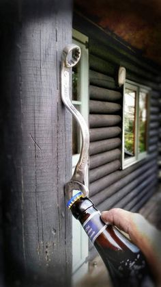 The Wall Mounted Beer Wrench is a totally awesome and completely unique take on a wall mounted beer bottle opener. An tool steel wrench is forged, shaped and struck on the anvil with the BEER WRENCH logo and pre-drilled to make the Wall Mounted Beer Metal Projects, Welding Projects, Beer Bottle Opener, Unique Bottle Openers, Wall Mounted Bottle Opener, Bottle Wall, Beer Bottles, Automotive Decor, Wall Bar