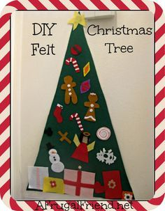 Felt Christmas Tree for kids to decorate. Felt ornaments stick onto the felt tree.