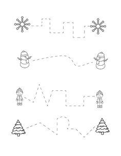 Winter Activities For Toddlers, Preschool Christmas Activities, Learning Games For Kids, Preschool Writing, Preschool Printables, Writing Activities, Writing Practice Worksheets, Worksheets For Kids, Winter Bulletin Boards