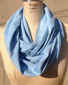 Super soft Light Blue stretch infinity scarf by DeZeStar on Etsy.
