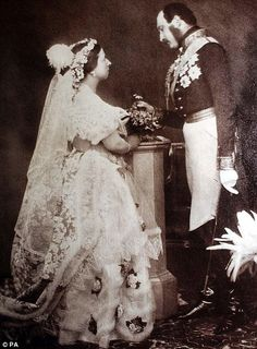 Queen Victoria marries Prince Albert on 10 February 1840: 'Albert repeated everything very distinctly. I felt so happy when the ring was put on, and by my precious Albert.'    This photo was taken in May 1854.