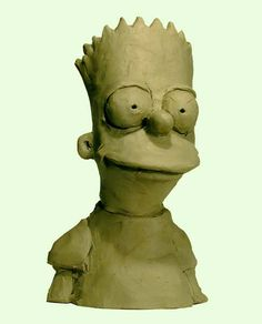 Clay sculpture of a cartoon character. 2-D to 3-D