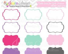 80% OFF - INSTANT DOWNLOAD,  just for girls labels, tag clipart,  printable labels,  pink, purple, cards, invitations, scrapbook,  digital f