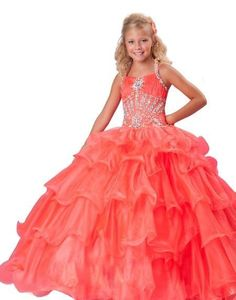 Tiered Beading Halter A Line Coral Girl Dresses