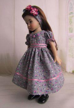 "Pink & Gray Embroidered Doll Dress & Headband for 13"" Effner Little Darling   eBay"