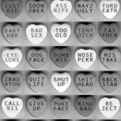 anti valentine's day conversation hearts...these made me giggle