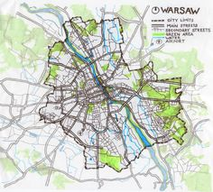 WEEK 1 Hi! I'm Sebastian, an architect from Warsaw, Poland.  City on the drawing (traced map) is the capital located in central part of the country. It's divided by the Vistula river and share some of the green - forest areas with surrounding municipalities. The build parts are located along main and secondary streets with highest density in the middle of the map, in the central districts.