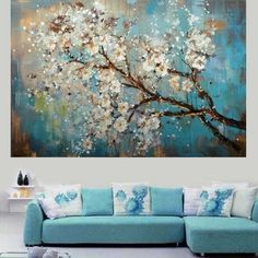 Beautiful Cherry Blossom Modern Abstract Oil-Painted Canvas Wall Art 6 Sizes