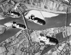 Four 1,000-lb bombs from a US Ninth Air Force B-26 Marauder bomber fall towards their target, the railway bridge over the Loire at Les Ponts-de-Ce, Angers, France, 1 August 1944. The attack was part of the Allied plan to disrupt the Germans' ability to reinforce their forces in Normandy.