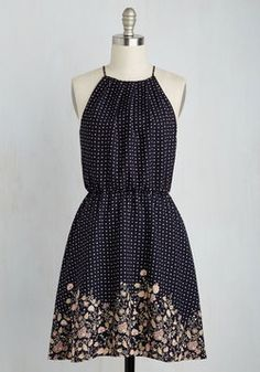 Retention to Detail Dress. Some dresses may be recalled as one complete picture, but the elements of this navy sundress beg to be remembered individually! #multi #modcloth