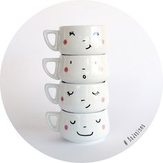 4  hand-printed smiling faces cups di BodesignsSHOP su Etsy