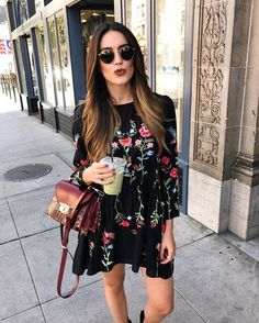 A Black Embroidery Dress with Beautiful Floral Design Patterns. ⭐ Must-have item to add to your Boho Chic wardrobe. Casual Women Outfit Idea featuring Boho Chic Fashion Style Inspiration and Outfit Ideas to Try Now. Shop this look ! Boho Fashion, Autumn Fashion, Fashion Outfits, Womens Fashion, Fashion Trends, Street Fashion, Fashion Ideas, Latest Fashion, Dress Fashion
