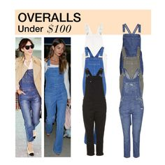 """Under $100: Overalls"" by polyvore-editorial ❤ liked on Polyvore featuring River Island, Topshop, overalls and under100"